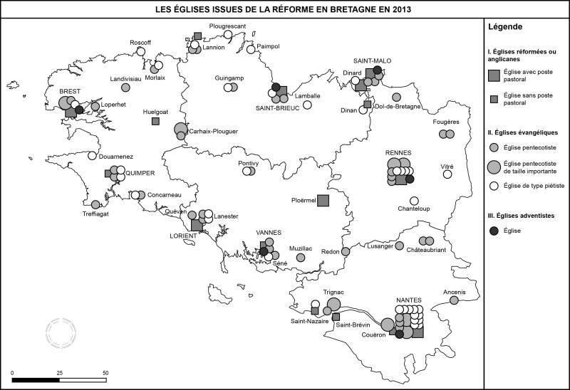 Les Églises issues de la Réforme en Bretagne en 2013