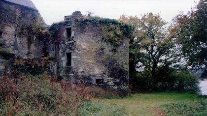 Une des tours du château des Salles, sur la rive de l'étang. Vue prise en 1992