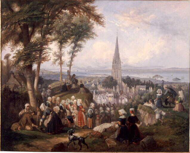 Louis Caradec. Le pardon de Ploaré (Vers 1850. Musée départemental breton). Vue des hauteurs qui dominent Douarnenez, la procession. Au fond, la presqu'île de Crozon.