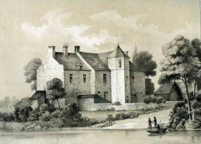 Le manoir de La Motte au Chancelier. La deuxième cène rennaise y fut célébrée à la Pentecôte 1559. Gravure ancienne. Les bâtiments ont été démolis lors de la construction de la rocade de Rennes, au niveau de la route de Lorient.