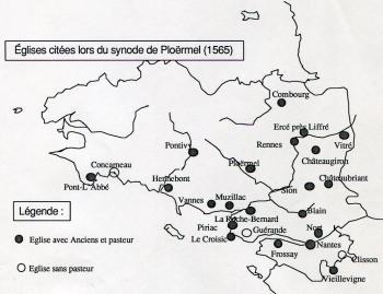 Eglises calvinistes Bretagne 1565