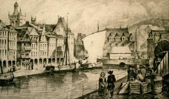 Morlaix. Le quai de Tréguier vers 1834. Le bassin s'étend à l'emplacement de l'actuelle place Thiers. Au fond, l'ancienne mairie. C'est à cette adresse que résident alors John et Elisabeth Jenkins et que naît leur première fille.